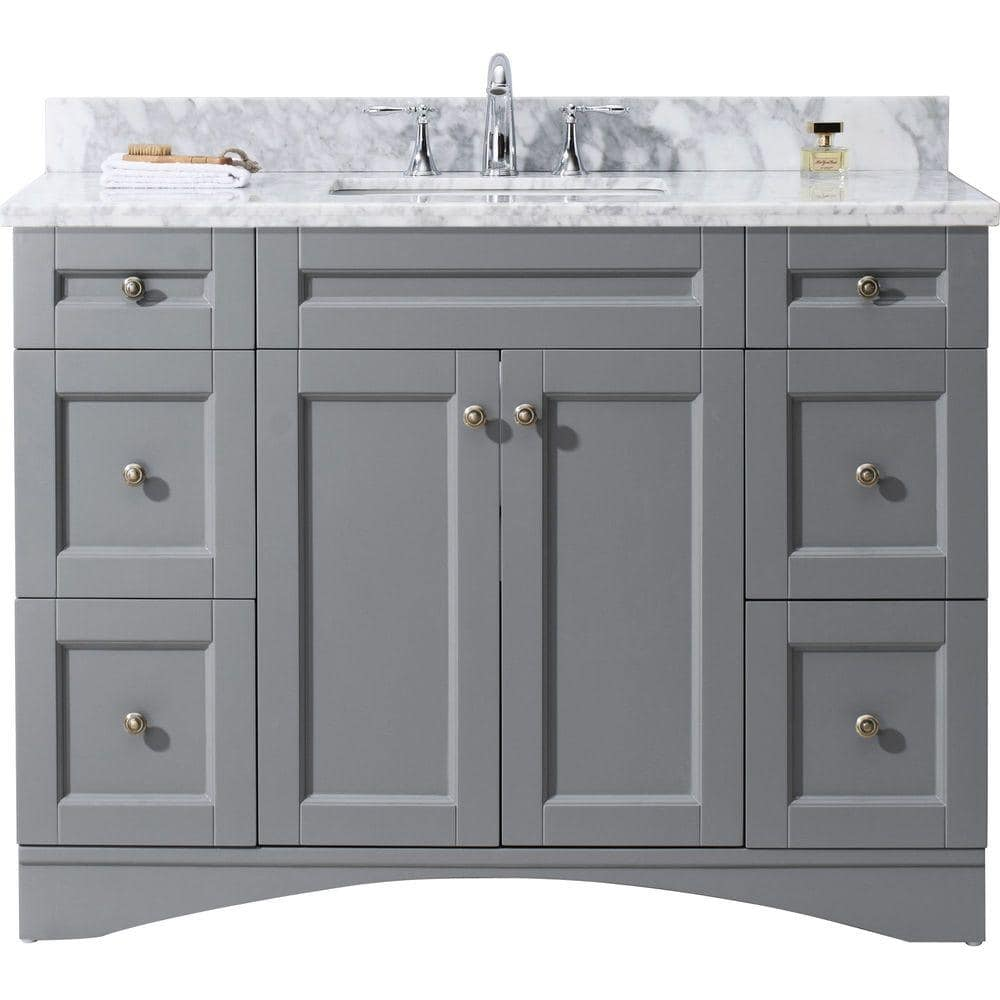 Virtu Usa Elise 49 In W Bath Vanity In Gray With Marble Vanity Top In White With Square Basin Es 32048 Wmsq Gr Nm The Home Depot