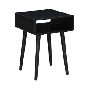 Napa 18 in. W Black 24 in. H Rectangle End Table with Storage Cubby