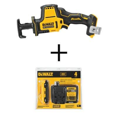 ATOMIC 20-Volt MAX Cordless Brushless Compact Reciprocating Saw (Tool-Only) with 20-V 4Ah Battery & 12-V to 20-V Charger