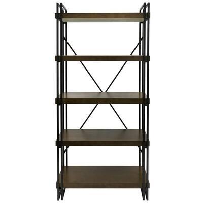 71 in. Dark Gun Metal 5-shelf Accent Bookcase with Open Back