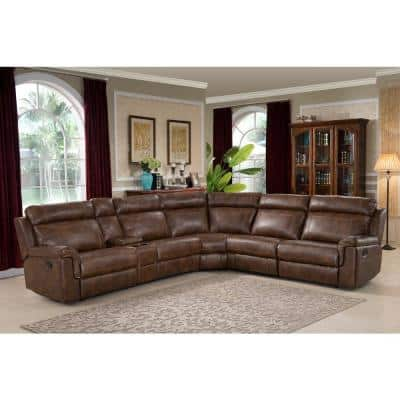 Clark 6-Piece Brown Faux Leather 6-Seater Curved Reclining Sectional Sofa
