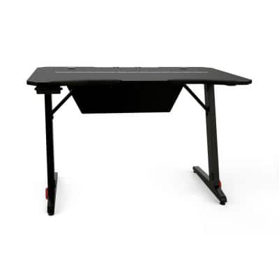 47.2 in. Carbon Black Home Office PC Computer Gamer Desk with RGB LED Lights and Headphone Hook