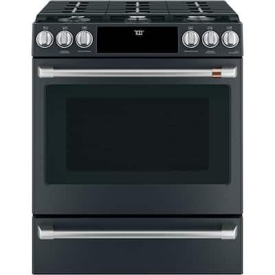 30 in. 5.6 cu. ft. Smart Gas Range with Self-Clean Oven in Matte Black, Fingerprint Resistant