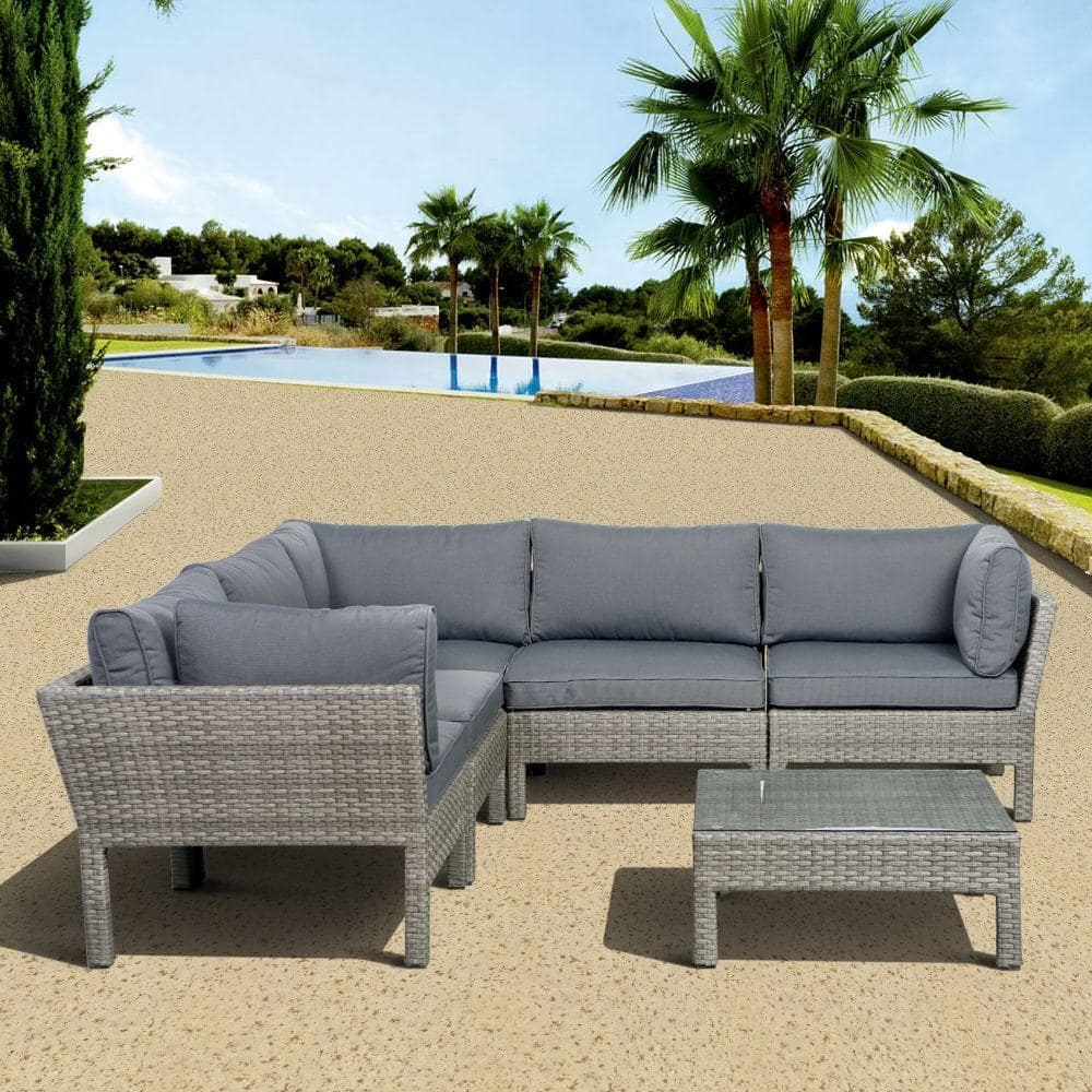 atlantic contemporary lifestyle infinity gray 6 piece all weather wicker patio seating set with gray cushions pli infinity6 gr gr the home depot