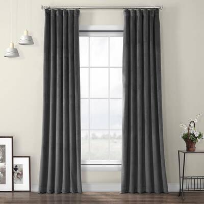Pepper Grey Velvet Rod Pocket Room Darkening Curtain - 50 in. W x 96 in. L