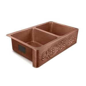 Renzen Farmhouse Apron-Front Handmade Copper 36 in. 50/50 Double Bowl Kitchen Sink in Antique Copper with Scroll Design