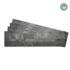 4-sheets Oyster Gray 24 in. x 6 in. Peel, Stick Self-Adhesive Decorative 3D Stone Tile Backsplash (3.87 sq.ft. / pack)