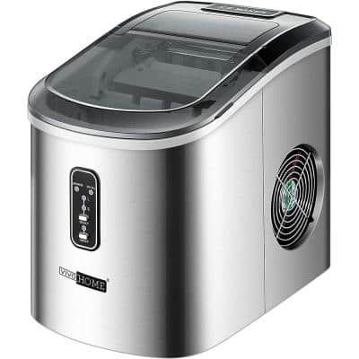 Electric 26 lbs./day Portable Ice Cube Maker in Stainless Steel