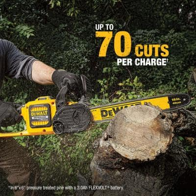 16 in. 60V MAX Cordless FLEXVOLT Brushless Chainsaw, (1)3.0Ah Battery & Charger w/Bonus String Grass Trimmer (Tool Only)