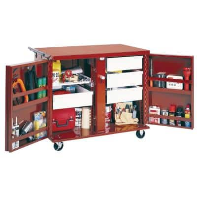 43 in. 4-Drawer Rolling Steel Work Bench Cabinet