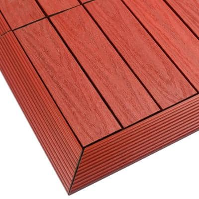 1/6 ft. x 1 ft. Quick Deck Composite Deck Tile Outside Corner Fascia in Swedish Red (2-Pieces/Box)