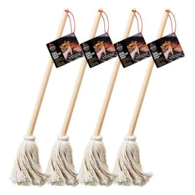 16 in. Wooden Handle BBQ Grill Basting Mop with Cotton Head (4-Pack)