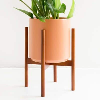 12 in. Peach Ceramic Planter with Medium Wood Stand (10 in., 12 in. or 15 in.)