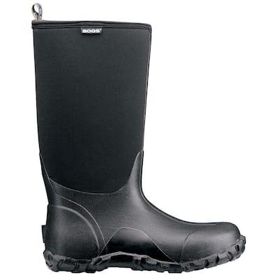Classic High Men 14 in. Size 11 Black Rubber with Neoprene Waterproof Boot
