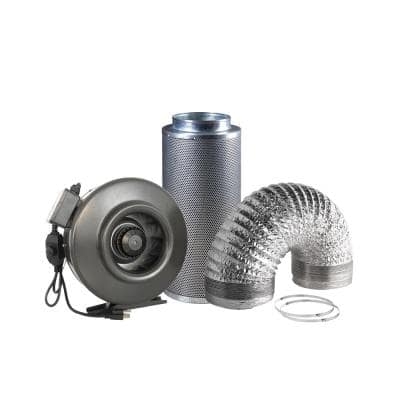 677 CFM 8 in. Centrifugal Inline Duct Fan with Carbon Filter and Aluminum Ducting for Indoor Garden Ventilation