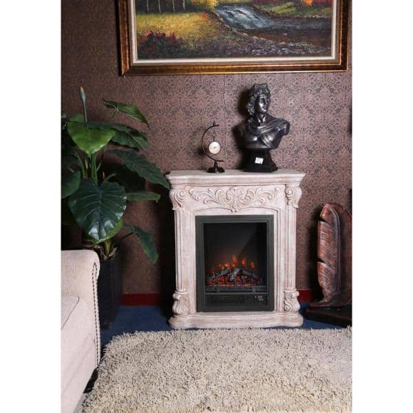 Luxenhome Polystone Roma 33 2 In Freestanding Electric Fireplace Heater Mantel And Remote In White Whif633 The Home Depot