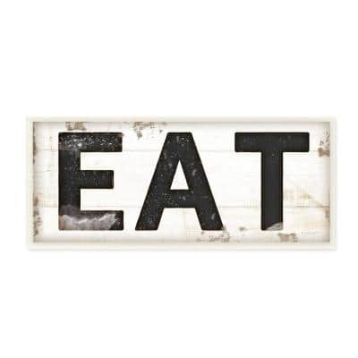 """7 in. x 17 in. """"EAT Typography Vintage Sign"""" by Jennifer Pugh Printed Wood Wall Art"""