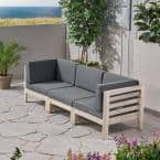 Oana Weathered Grey 3-Piece Wood Outdoor Sectional Sofa with Dark Grey Cushions