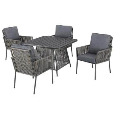 Tolston 5-Piece Wicker Outdoor Patio Dining Set with Charcoal Cushions