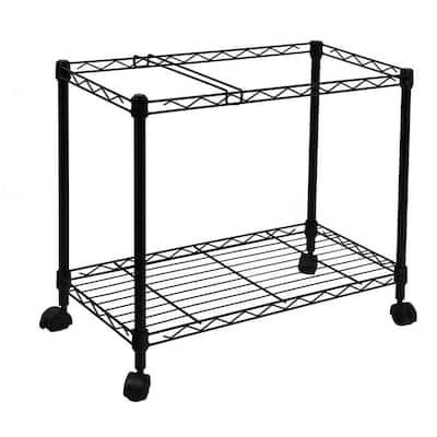Portable 1-Tier Metal Rolling File Cart in Black