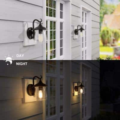 1-Light Black Indoor and Outdoor Wall Mount Porch Light Decorative Lantern Sconce LED Compatible