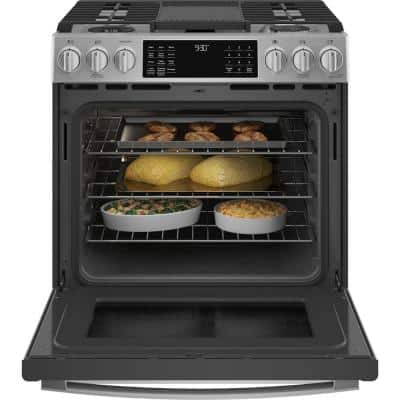 Profile 5.7 cu. ft. Slide-In Dual Fuel Range with Self-Cleaning Convection Oven in Fingerprint Resistant Stainless Steel