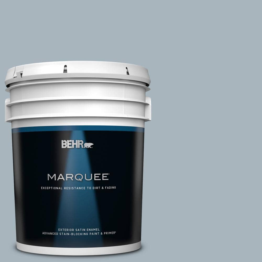 Behr Marquee 5 Gal Mq5 23 Intercoastal Gray Satin Enamel Exterior Paint Primer 945405 The Home Depot