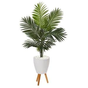 61 in. Paradise Palm Artificial Tree in White Planter with Stand