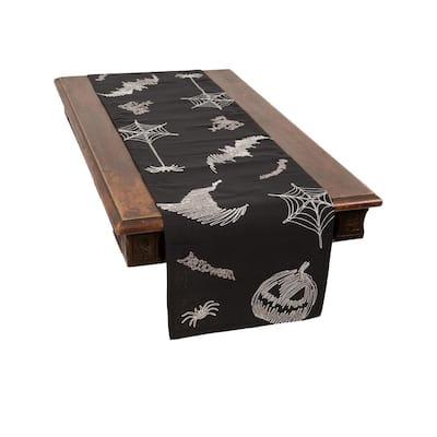 0.1 in. H x 15 in. W x 70 in. D Happy Halloween Double Layer Table Runner in Black