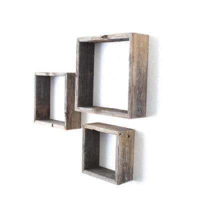 3-Piece Rustic Farmhouse Weathered Gray Floating Square Wall Shelf Set