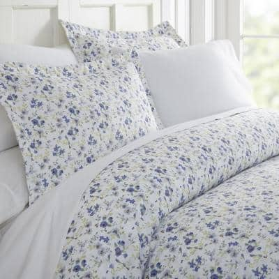 Blossoms Patterned Performance Light Blue Queen 3-Piece Duvet Cover Set
