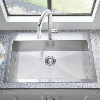 Edgewater Top or Under Mount Stainless Steel 33 in. ADA Single Bowl Kitchen Sink
