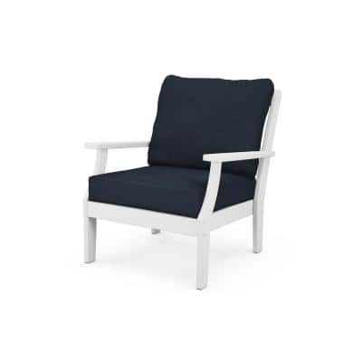 Braxton White Stationary Plastic Patio Outdoor Deep Seating Lounge Chair with Dark Blue Cushions