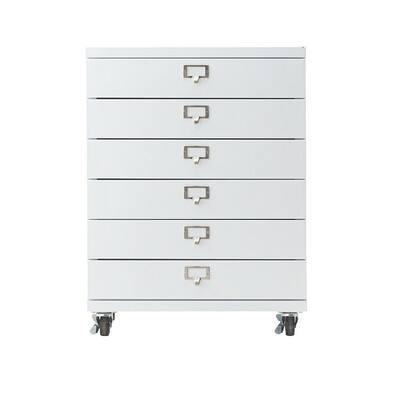 Becker 6-Drawer Metal Cart in White