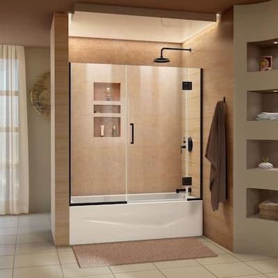 Unidoor-X 58-58.5 in. x 58 in. Frameless Hinged Tub Door in Satin Black