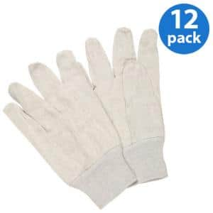 8oz. Clute Pattern Canvas Glove, Poly/Cotton Blend, Natural White - 12 Pair Value Pack