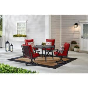 Braxton Park 5-Piece Black Steel Outdoor Patio Dining Set with CushionGuard Chili Red Cushions