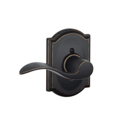 Accent Aged Bronze Left Handed Dummy Door Lever with Camelot Trim