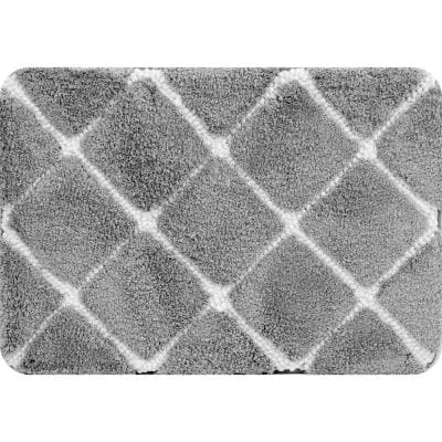 Trellis Foam Gray 18 in. x 27 in. Polyester Bath Mat