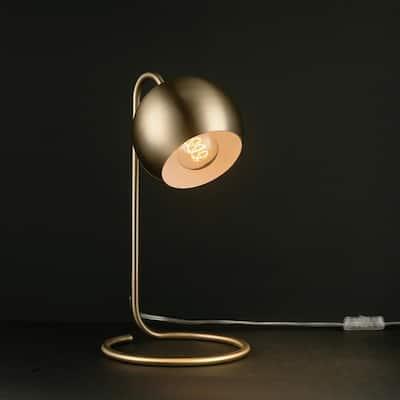 Richmond 15 in. Matte Brass Desk Lamp with White Inner Shade