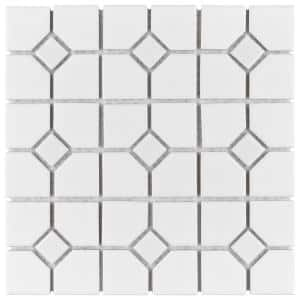Oxford Matte White with Glossy White Dot 12 in. x 12 in. Porcelain Mosaic Tile (9.38 sq. ft. / Case)