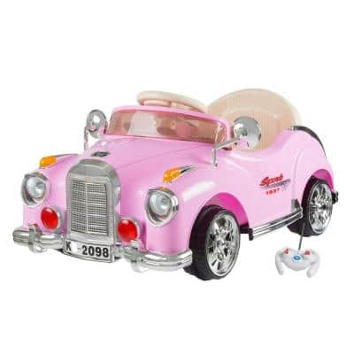 Battery Powered Ride on Toy Classic Car Coupe in Pink