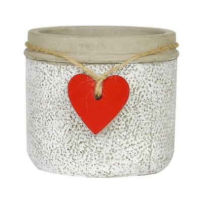 4.3 in. Whitewash Cement Heart Planter