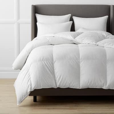 Legends Luxury Baffled Damask Medium Warmth White Full Goose Down Comforter