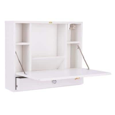 20 in. Rectangular White 1 Drawer Floating Desks with Solid Wood Design
