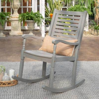Grey Wash Acacia Wood Outdoor Rocking Chair