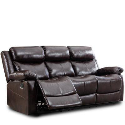 Sectional 3-Piece Brown Faux Leather Reclining Symmetrical Sectionals with Recliner