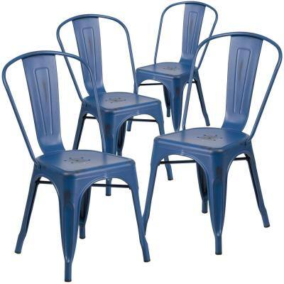 Stackable Metal Outdoor Dining Chair in Antique Blue (Set of 4)