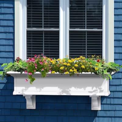 48 in. x 12 in. White Plastic Self-Watering Window Box