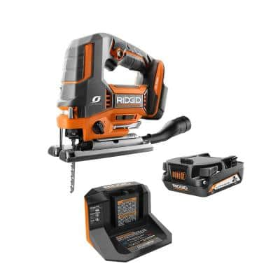 RIDGID 18-Volt OCTANE Brushless Cordless Jig Saw Kit with 18-Volt Lithium-Ion 2.0 Ah Battery and Charger